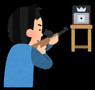 剣士キャラ「居合!斬撃飛ばす!百連斬!炎や雷の剣!」銃キャラ「…」